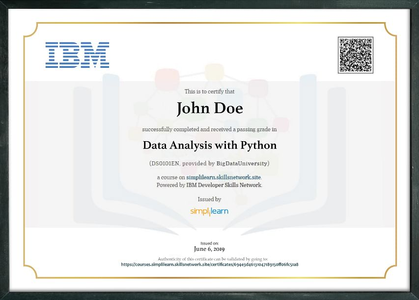 Data Analytics Course Certificate