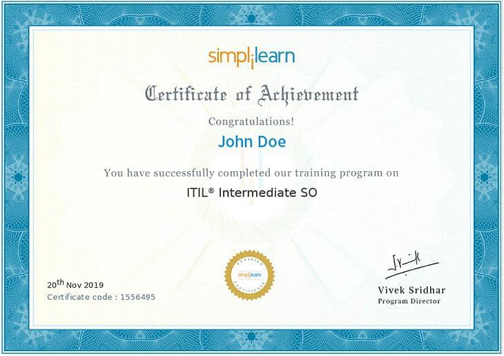 ITIL Intermediate SO Certificate