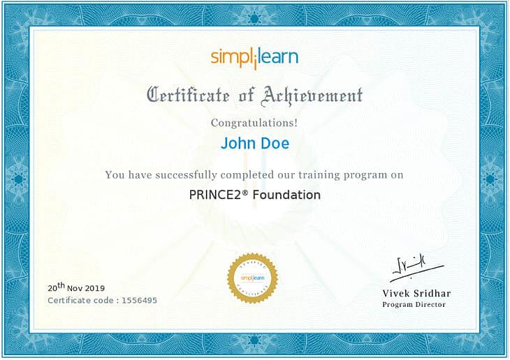 prince2 certification foundation training certificate simplilearn course certificates exam