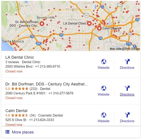 Full business address in google search