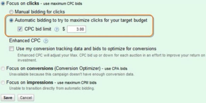 automatic-bidding-option-to-maximize-clicks
